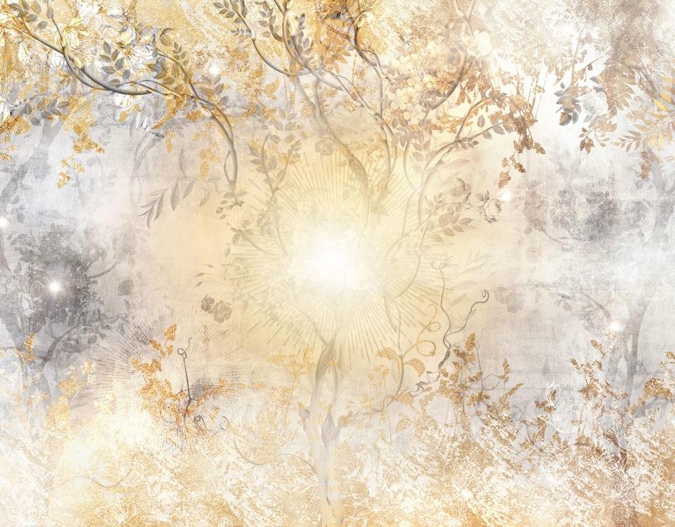 фотообои ветви солнце необычный принт для интерьера