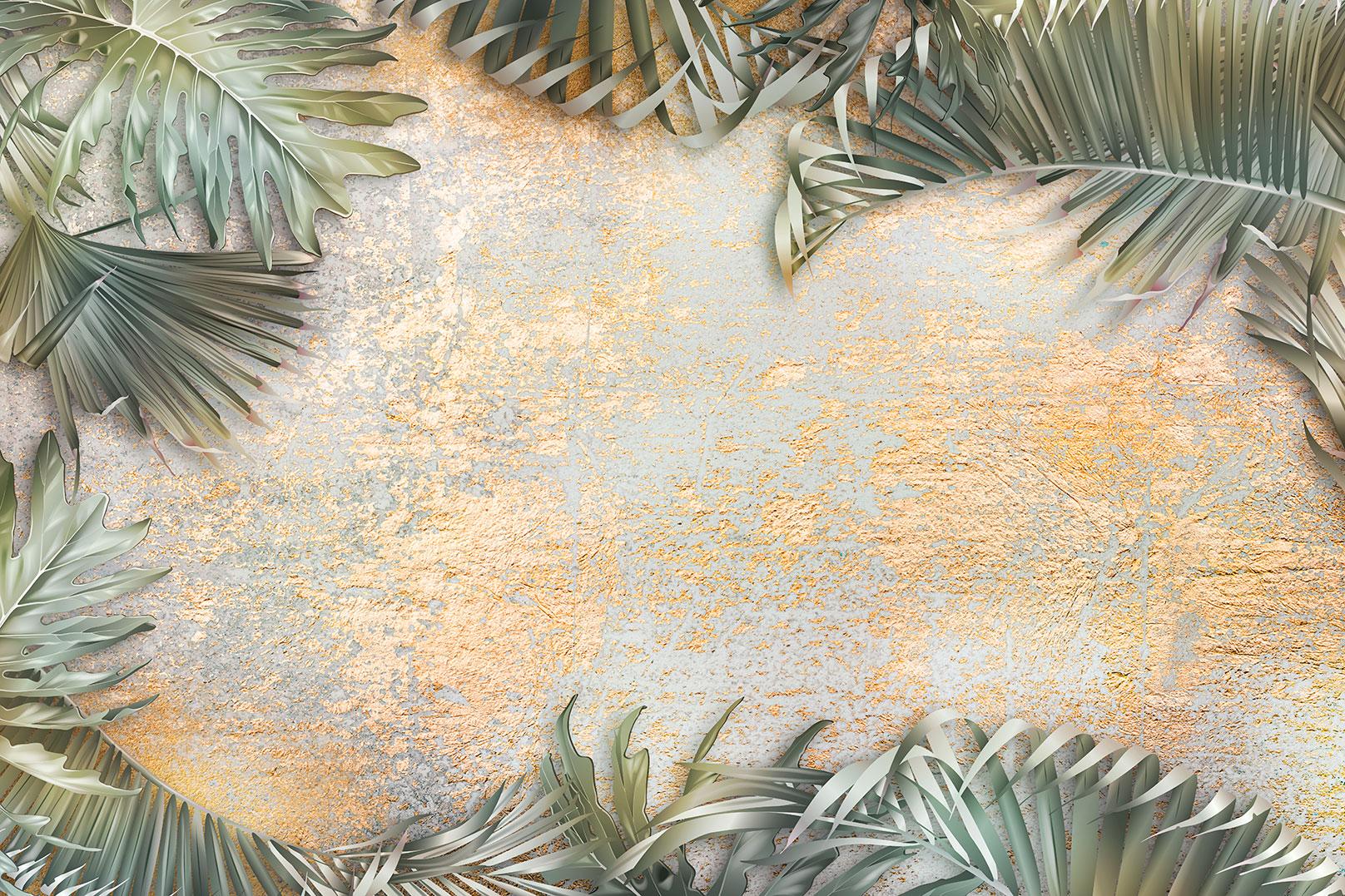 Фотообои пальмовые листья на золотой штукатурке украсят интерьер гостиной комнаты.