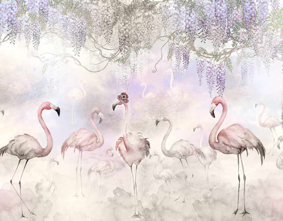 фламинго обои купить большой каталог принтов для стен