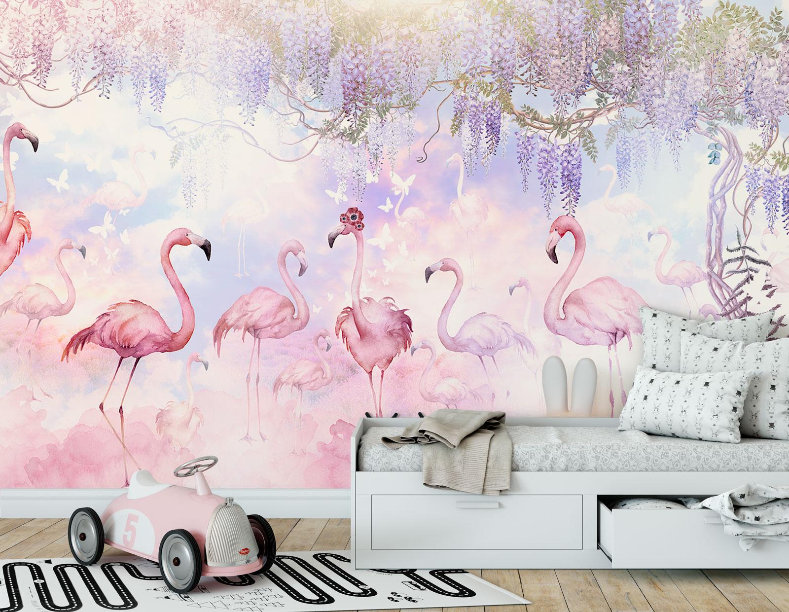 фотообои +с фламинго +в детскую