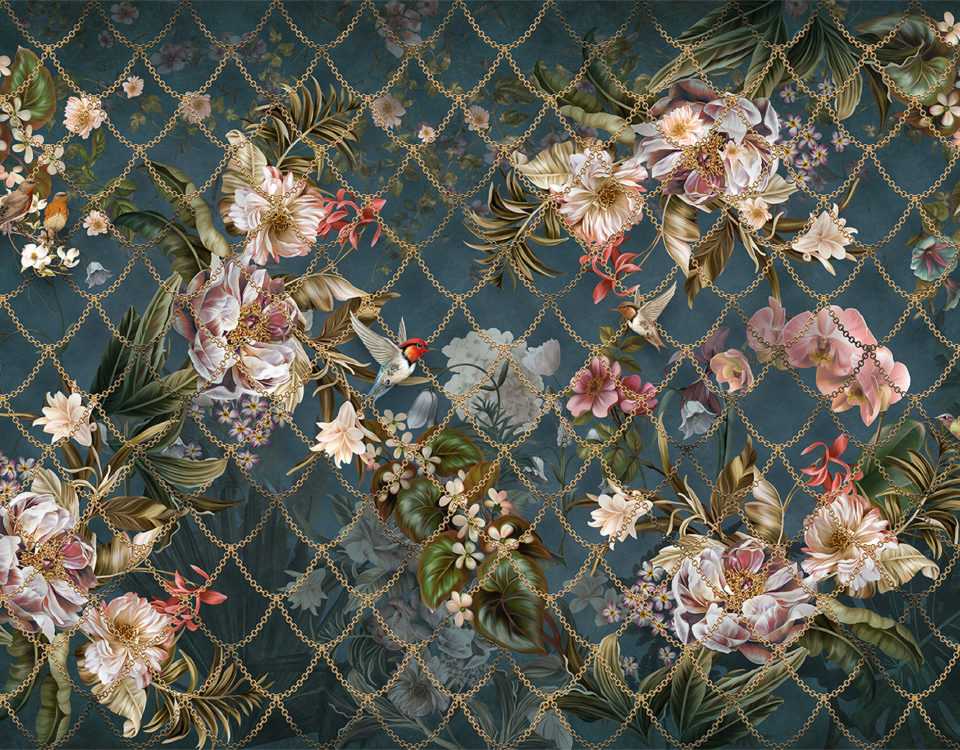 фотообои под фреску птицы и цветы золотая цепочка