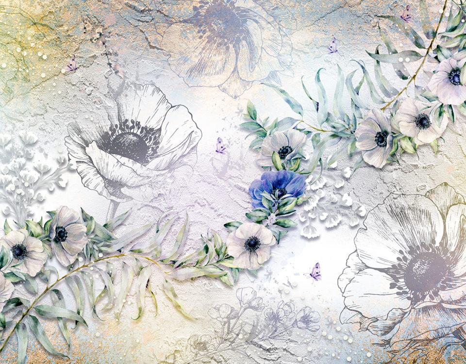 фотообои фрески на стену цветы купить необычные цветы обои