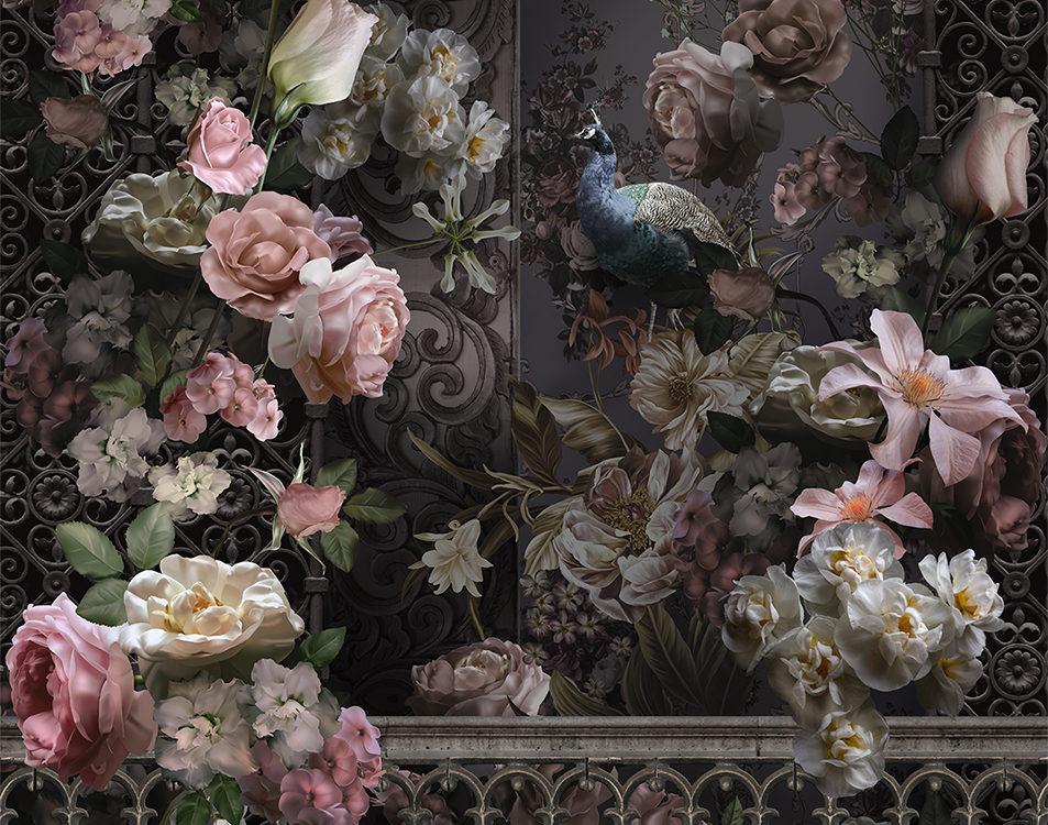 фреска цветы на темном фоне богатые принты для стен печать
