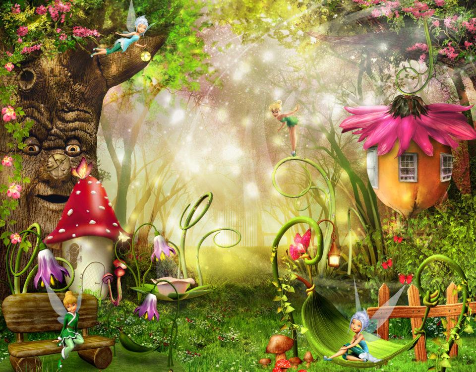 Фотообои со сказочным лесом, пронизанным солнечным сиянием, царит первозданный дух радости и волшебства. Очаровательные феи под кроной векового дуба затевают веселые игры. Воздух напоен свежестью и ароматами цветов. Мудрое древо вещает таинственную историю...