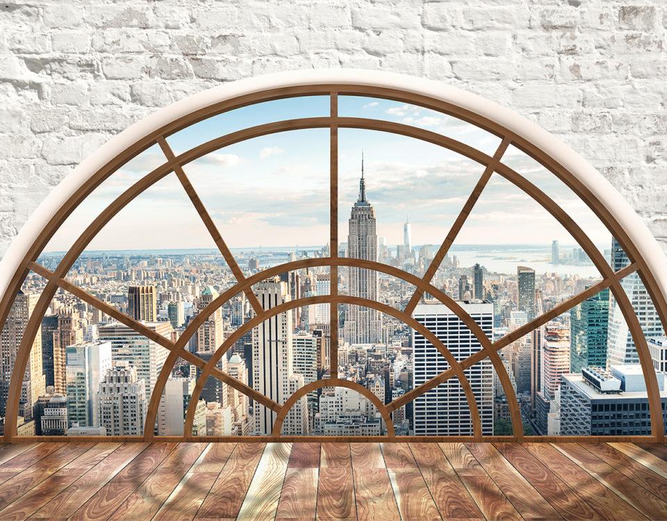 фотообои окно в пол с видом на город имитация кирпичной кладки обои на стену купить
