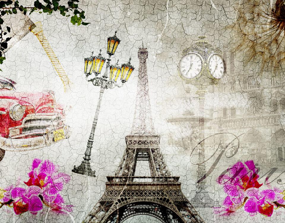 винтаж обои башня париж ретро car