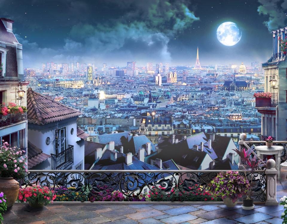 ночной город вид с балкона на город обои городской пейзаж
