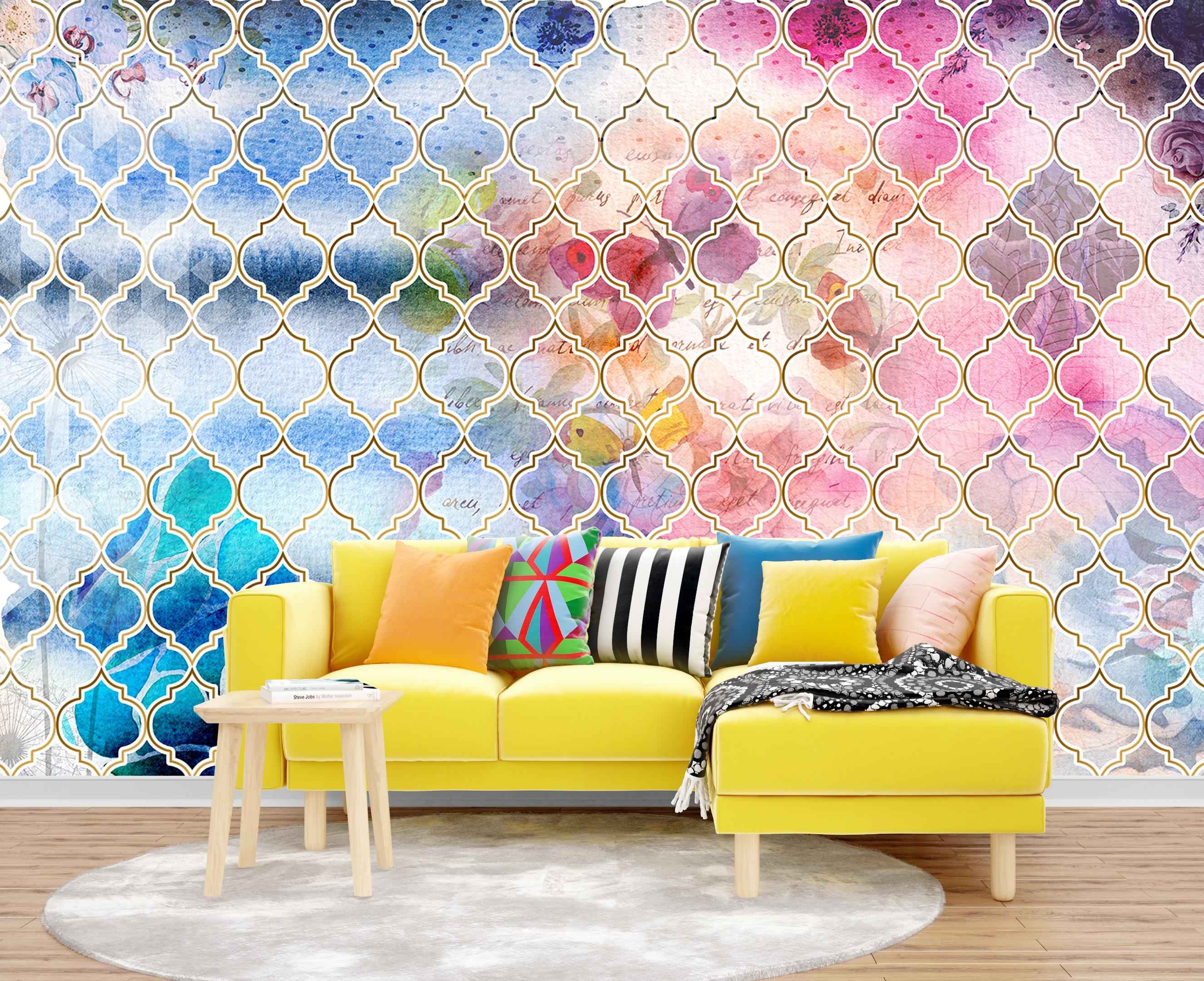 необычные принт версаче на стену желтый диван