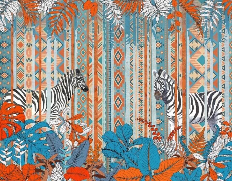 зебра в лесу обои на стену купить обои джунгли в каталоге