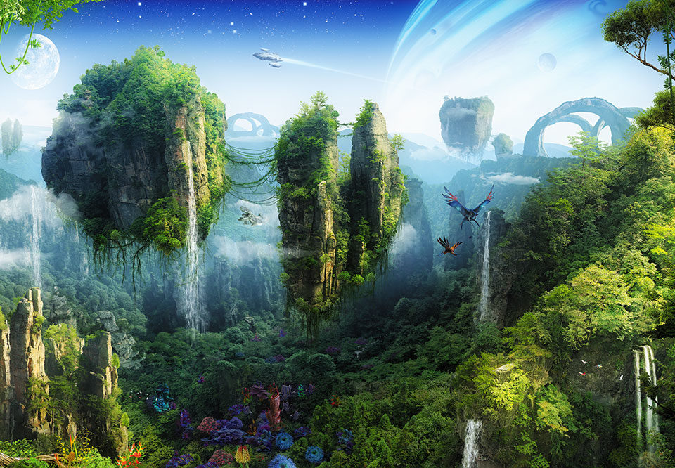 фантастический пейзаж летающие острова аватар на стену
