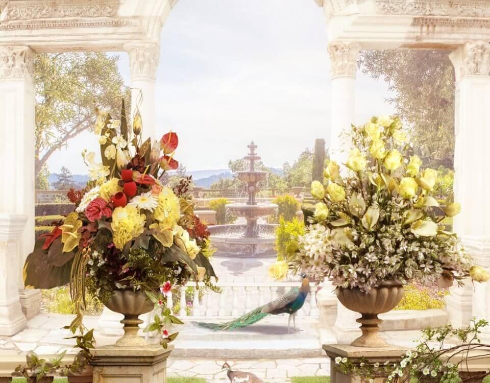 арка с вазами цветы обои на стену в тиле фрески