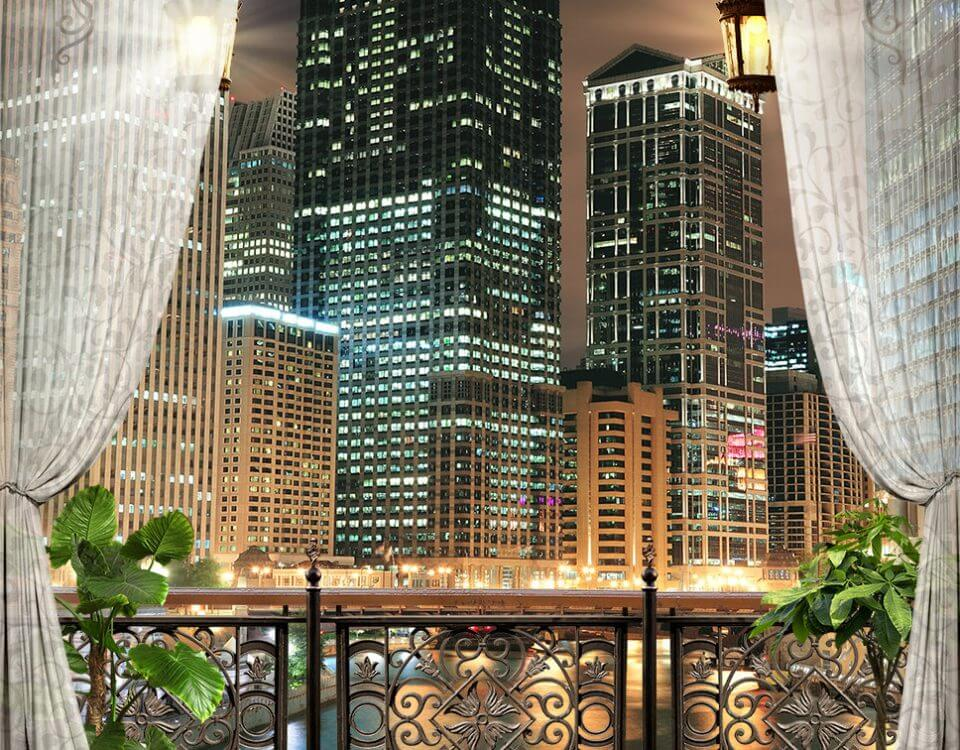 вид с балкона на небоскреб огни ночного города обои на стену перспектива