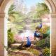 арта с павлинами вид на водопад фреска