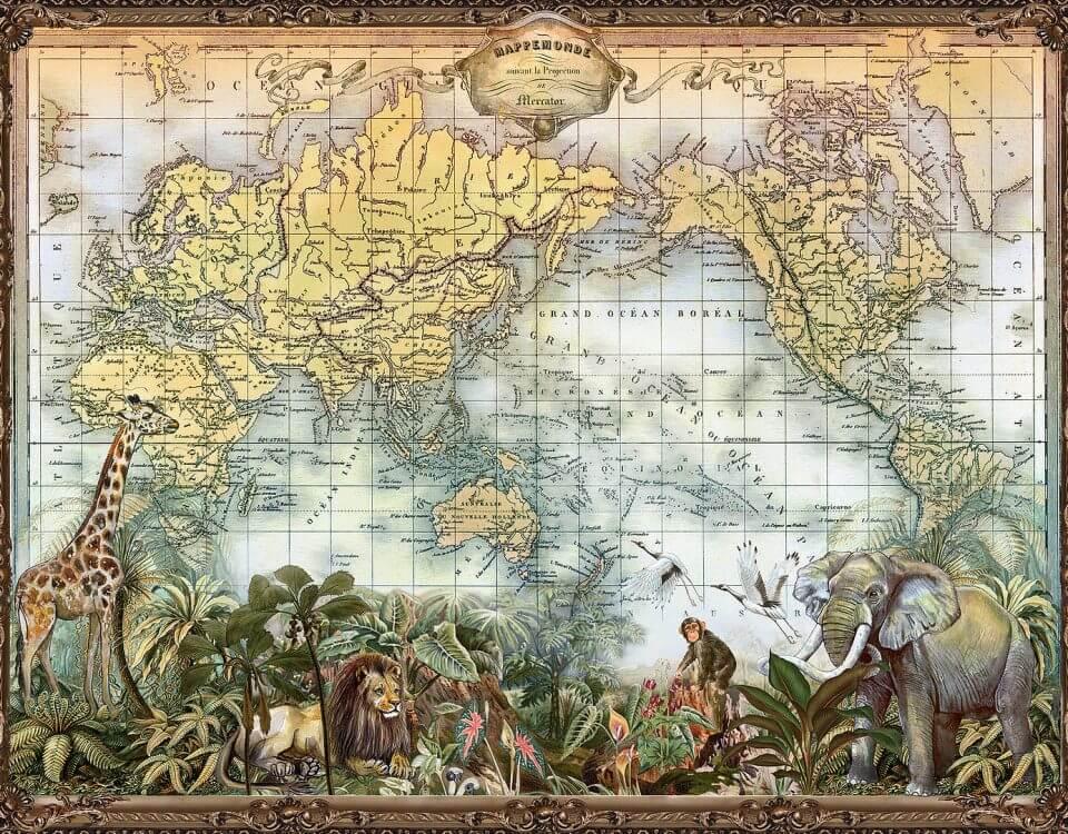 карта мира с животными стильная карта мир на стену
