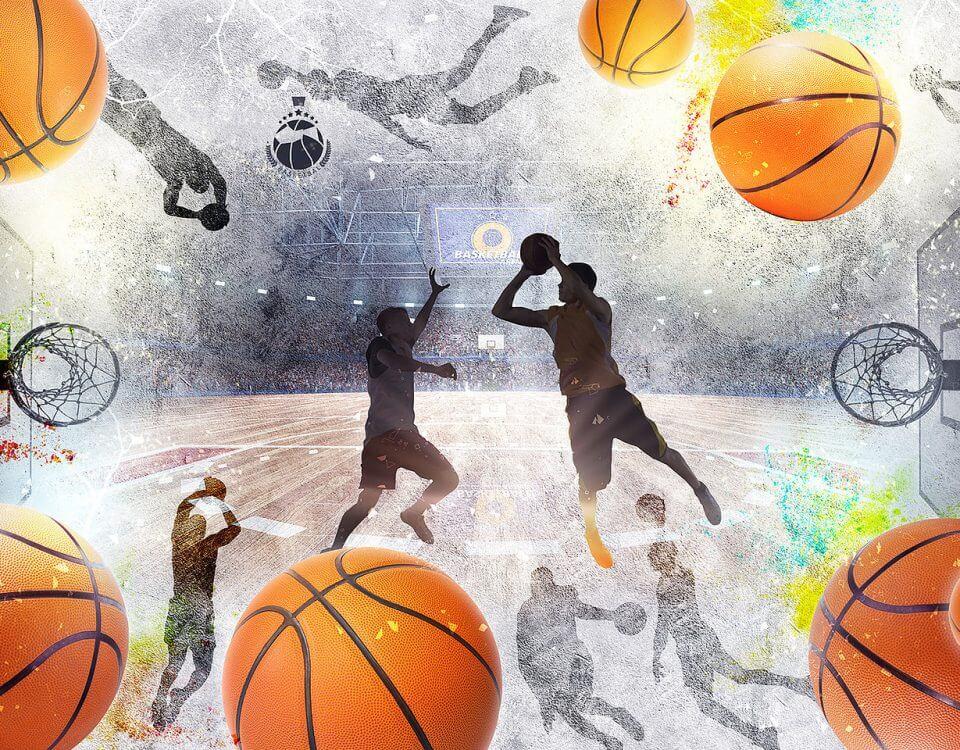 баскетболисты обои с мячами на стену для подростков в комнату на стену.basketball print on the wall