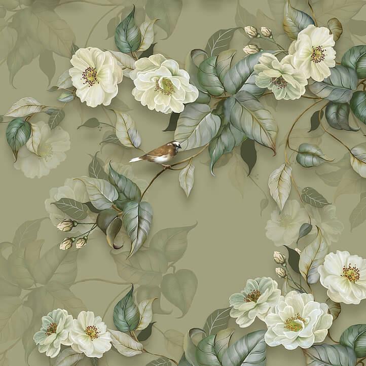 фрески +на стену цветы