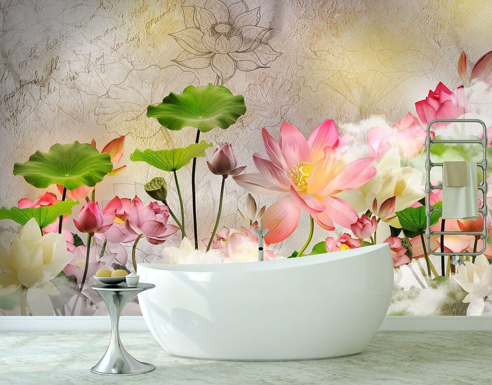 цветущие лотосы красивые обои с цветами для стен бесшовные обои с антивандальным эффектом