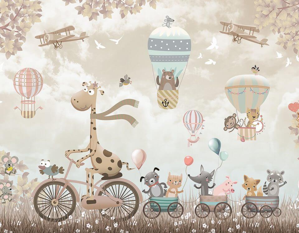 жираф на велосипеде и зверята на воздушных шарах обои на стену в детскую с жирафом