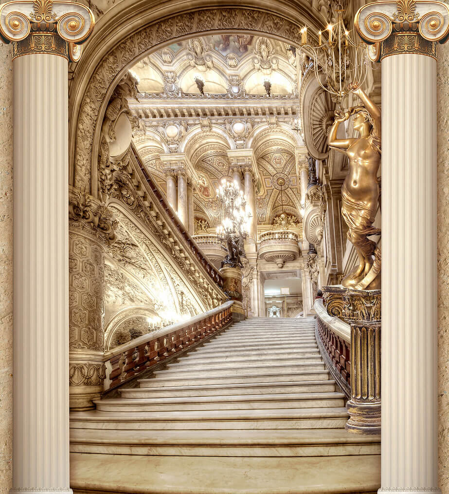 фотообои фреска лестница золотая лестница