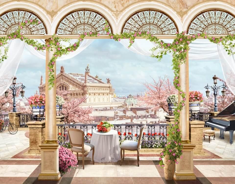 фотообои фреска вид с балкона на город купить по своим размерам