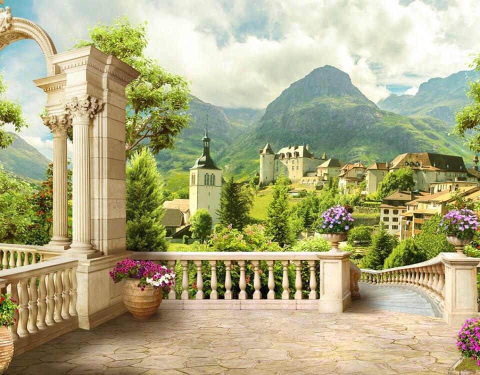 фреска вид на горы купить красивые фотообои с видом на горы и город