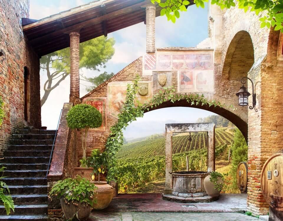 фреска дворик заказать по своим размерам