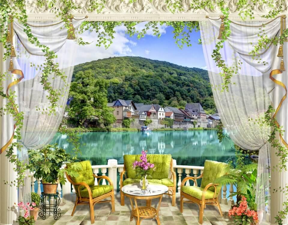 фотообои балкон с видом на бухту купить фотообои красивый вид