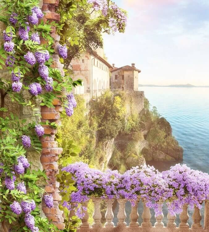 Великолепный вид с балкона украшенный сиреневыми цветами на бесшовных обоях