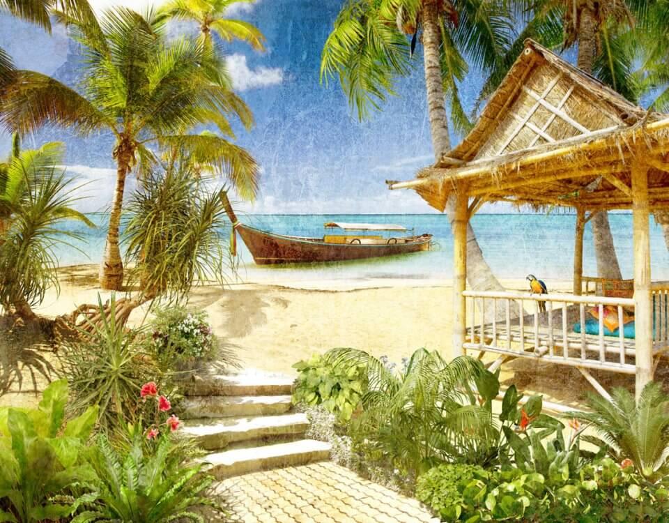 фотообои пляж пальмы купить большой каталог фотообоев песчаный пляж