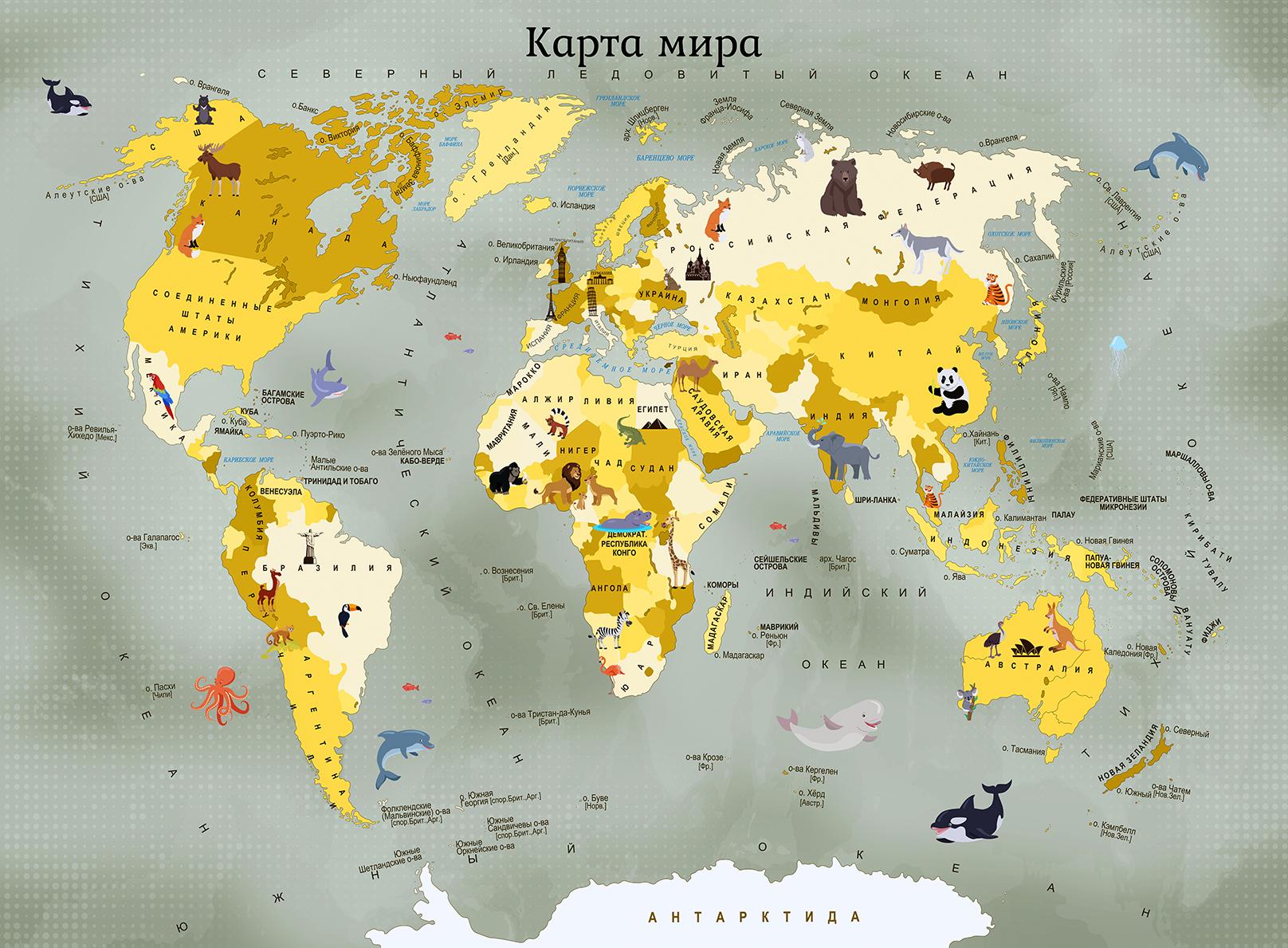 детские обои в виде карты в СПб