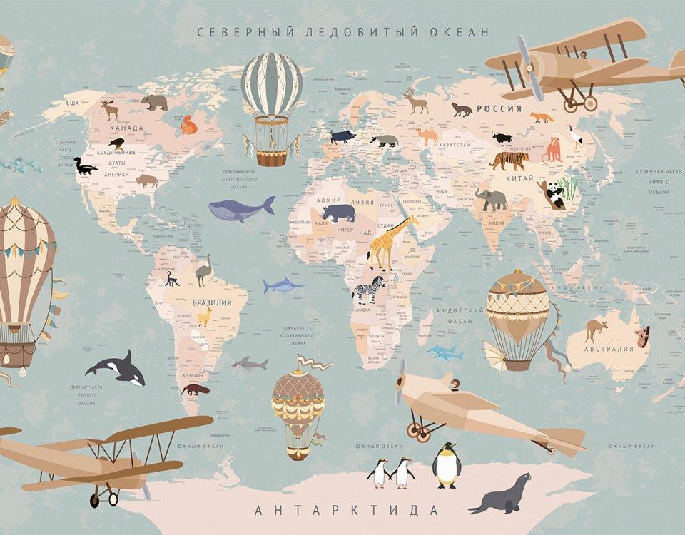 детская карта мира на стену на сером фоне с животными