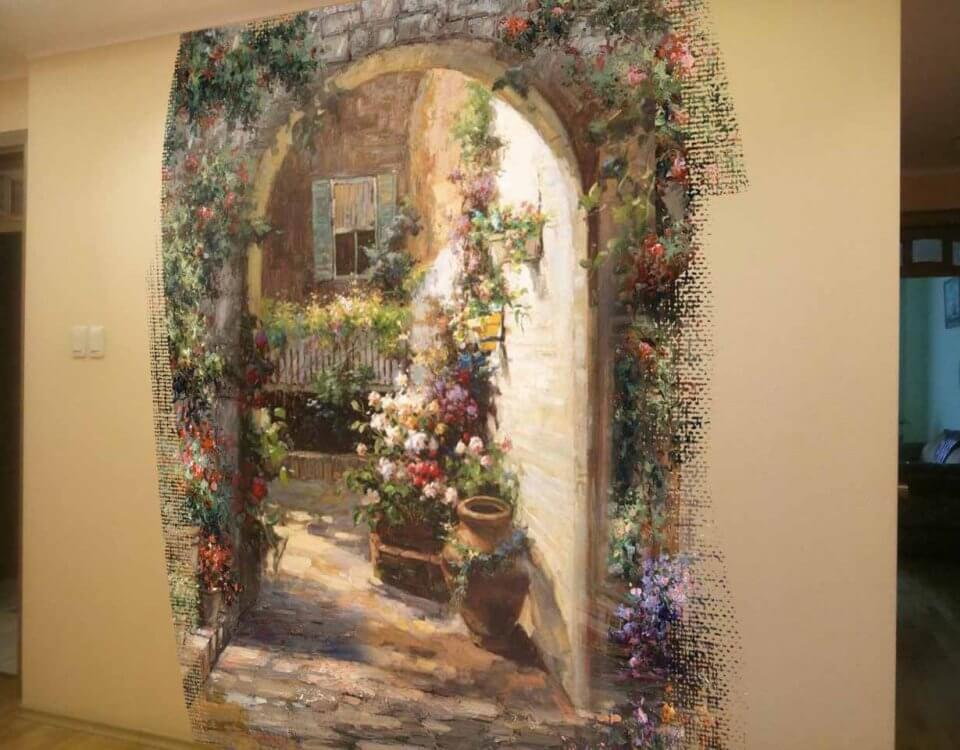 купить фреска арка с цветами. Большой выбор материалов. Латексная печать