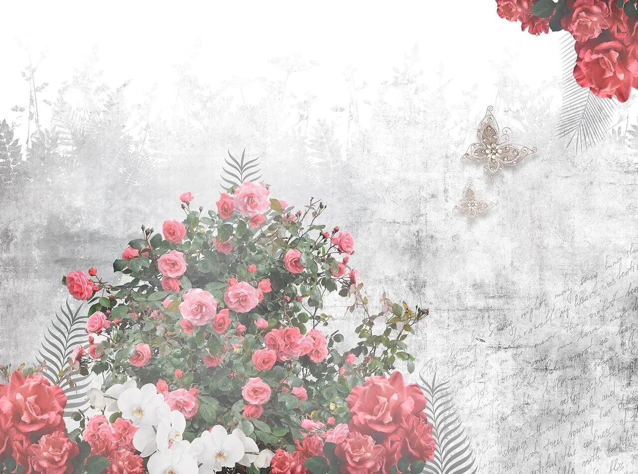Арт. KR0101 - Кусты роз - Бесшовные обои