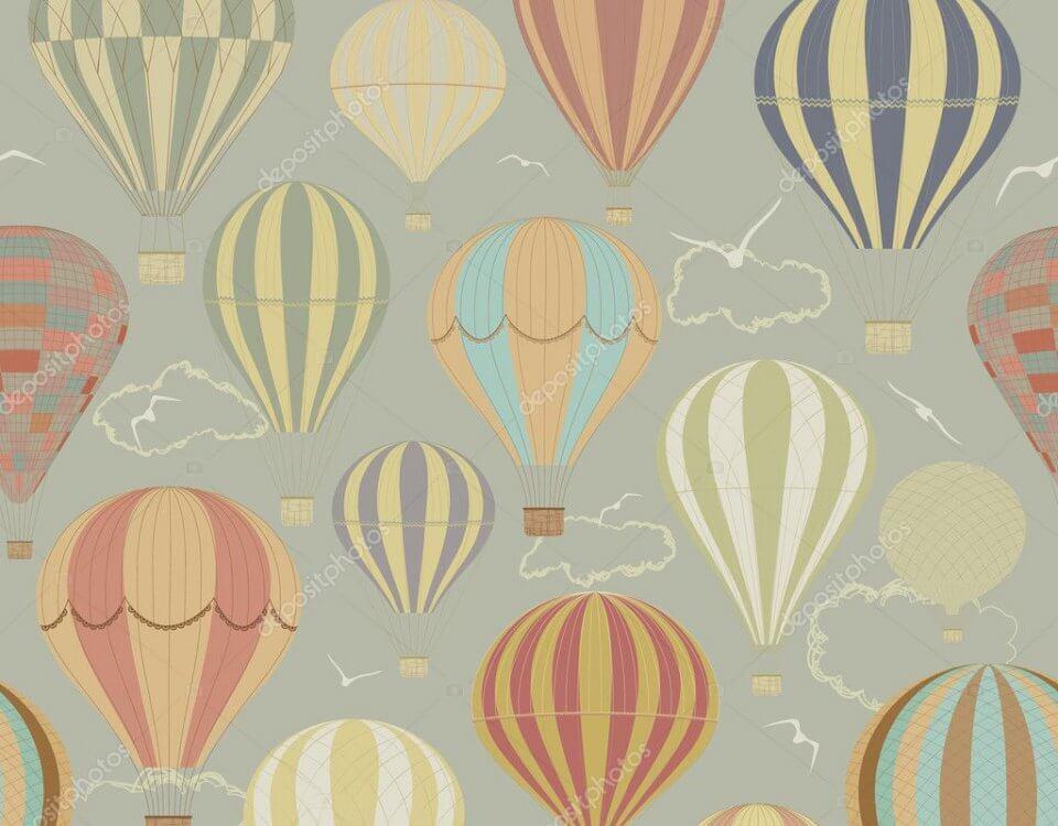 воздушные шары обои на стену летающие шары в полоску