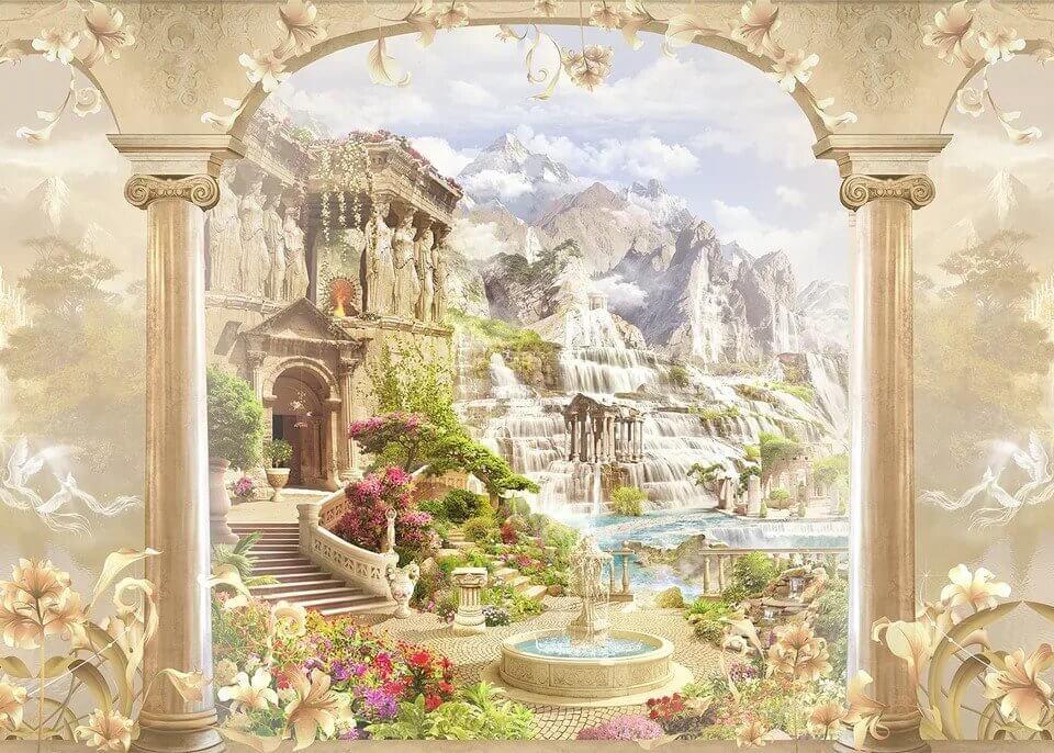 фреска арка с видом на горы