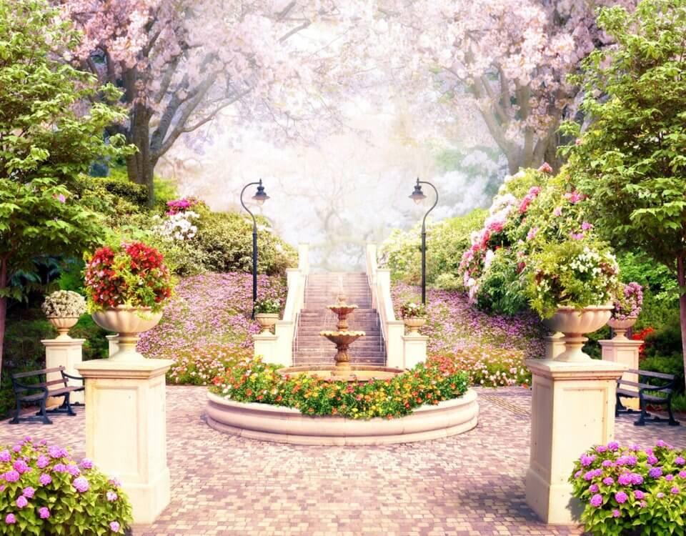 купить фреску с фонтаном и лестницей