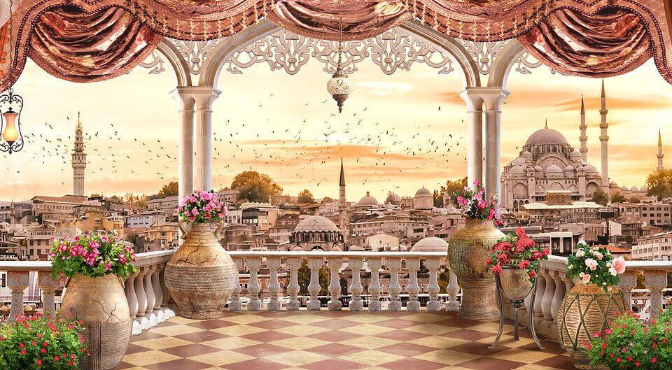 купить фреску с видом на город в восточном стиле
