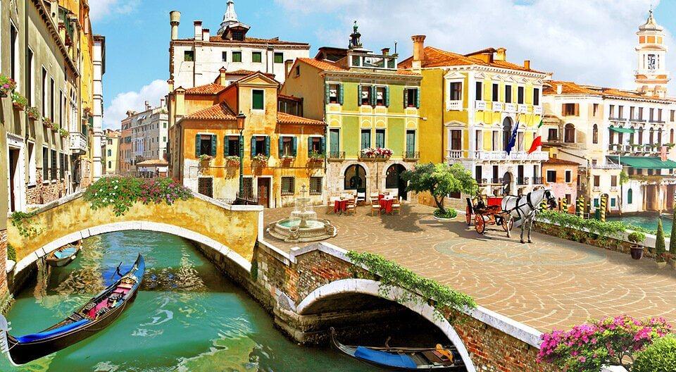 купить фотообои венеция канал и мост