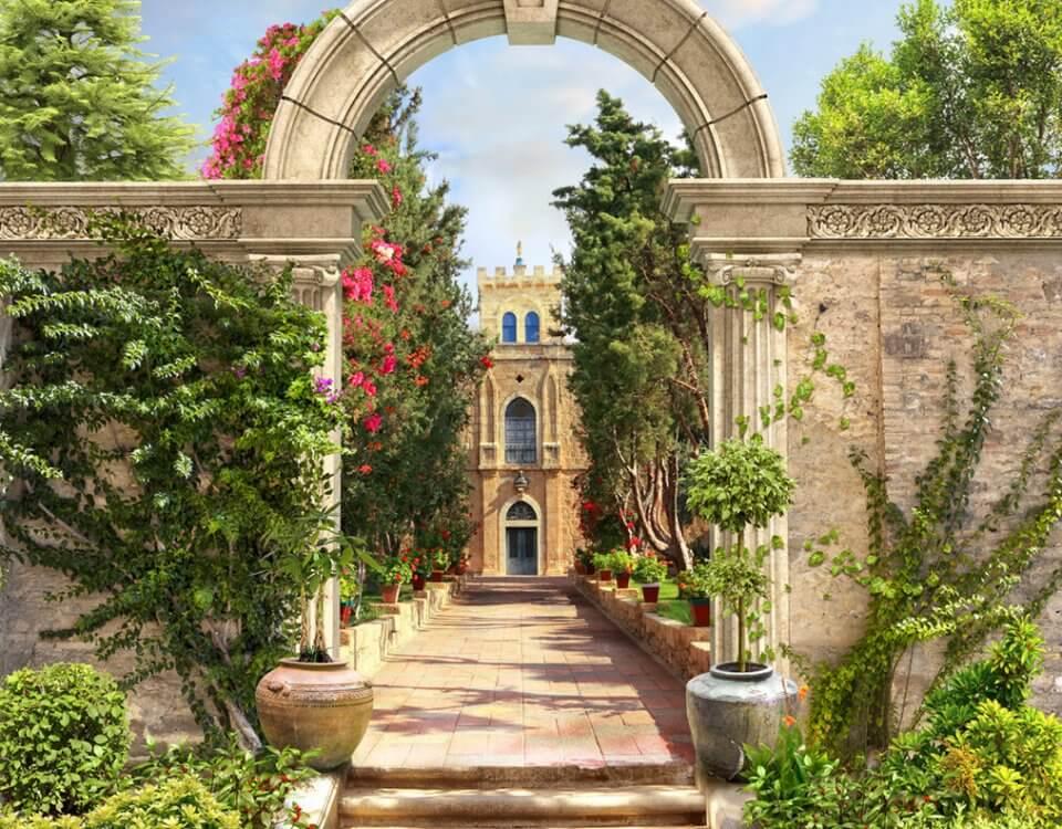 купить фреску с аркой ведущей к замку