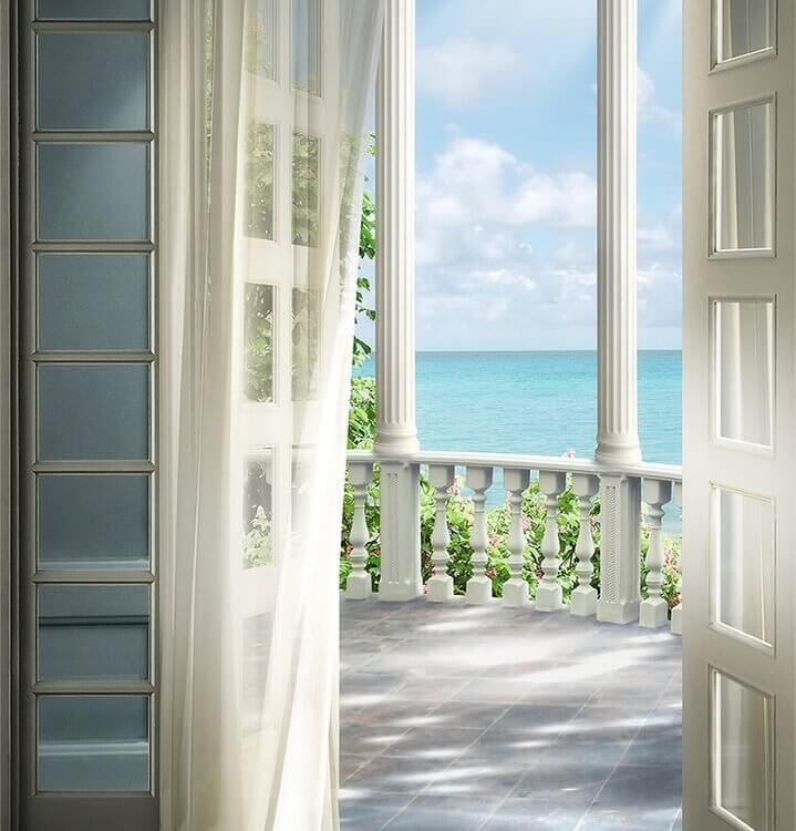 купить фотообои открытая дверь ведущая на балкон в белых тонах