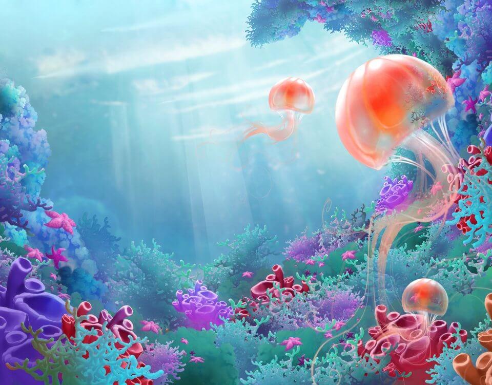 Сказочный подводный мир на бесшовных фотообоях.