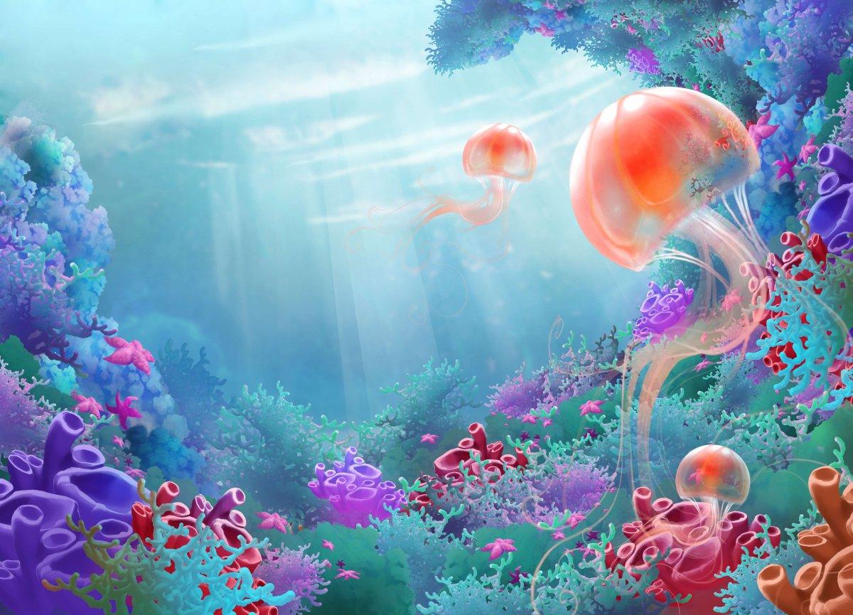Обои медузы и подводный мир