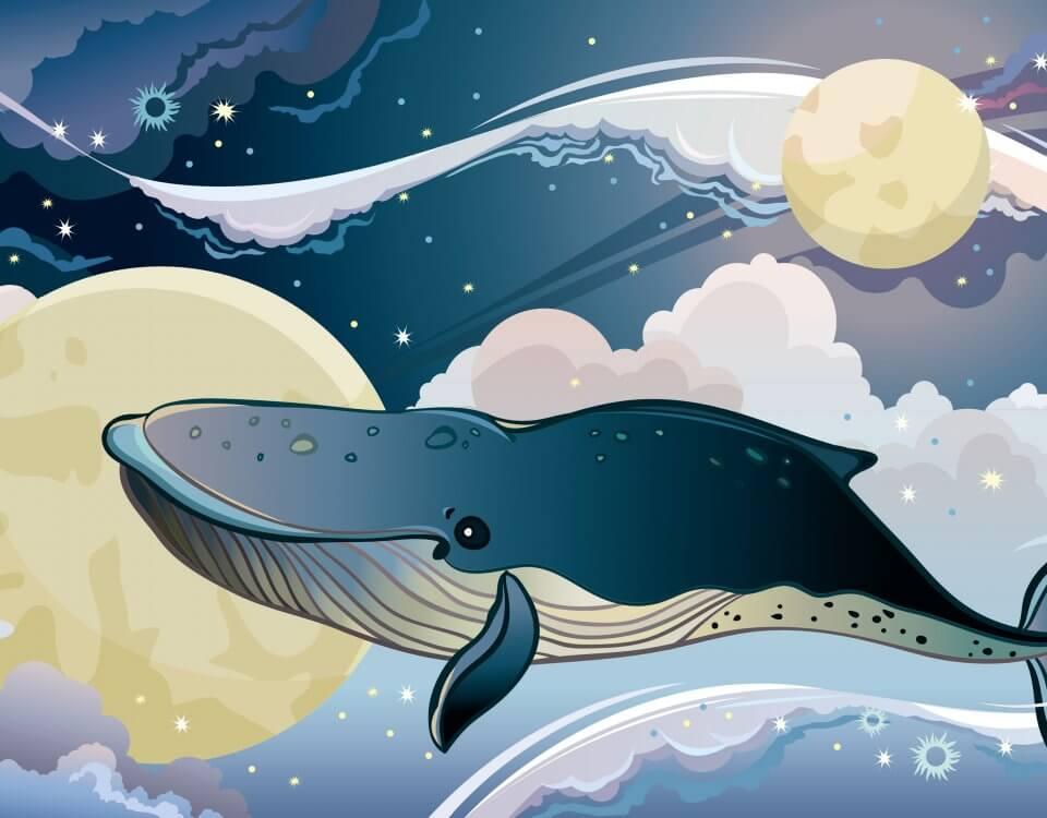 обои синий кит плывет по ночному звездному небу. Фантастическое облачное небо с волнами на бесшовных обоях
