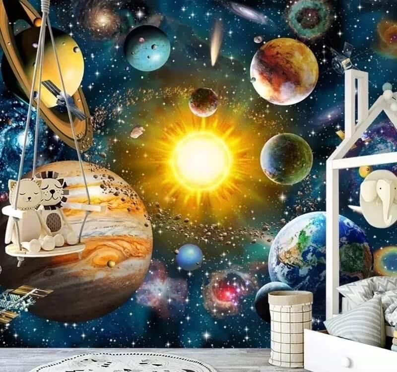 Фотообои планеты отображают абстракцию на нашу Солнечную систему и близлежащие галактики.