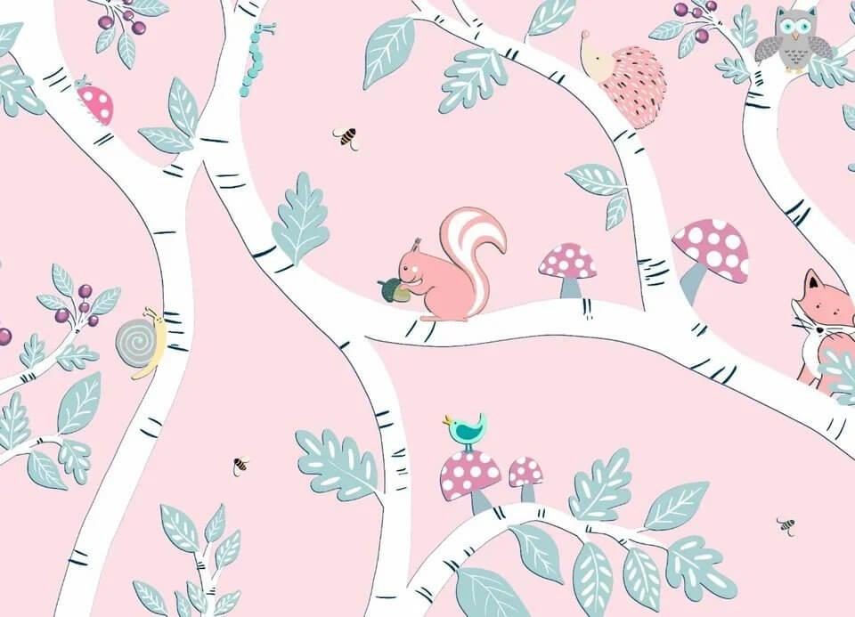 Нежная детская иллюстрация для детской комнаты. Будто сказочный лес со своими жителя живет в комнате малыша. Возможна любая цветокоррекция данного изображения.