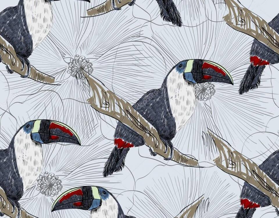 дизайнерские обои с птицами на бесшовных материалах