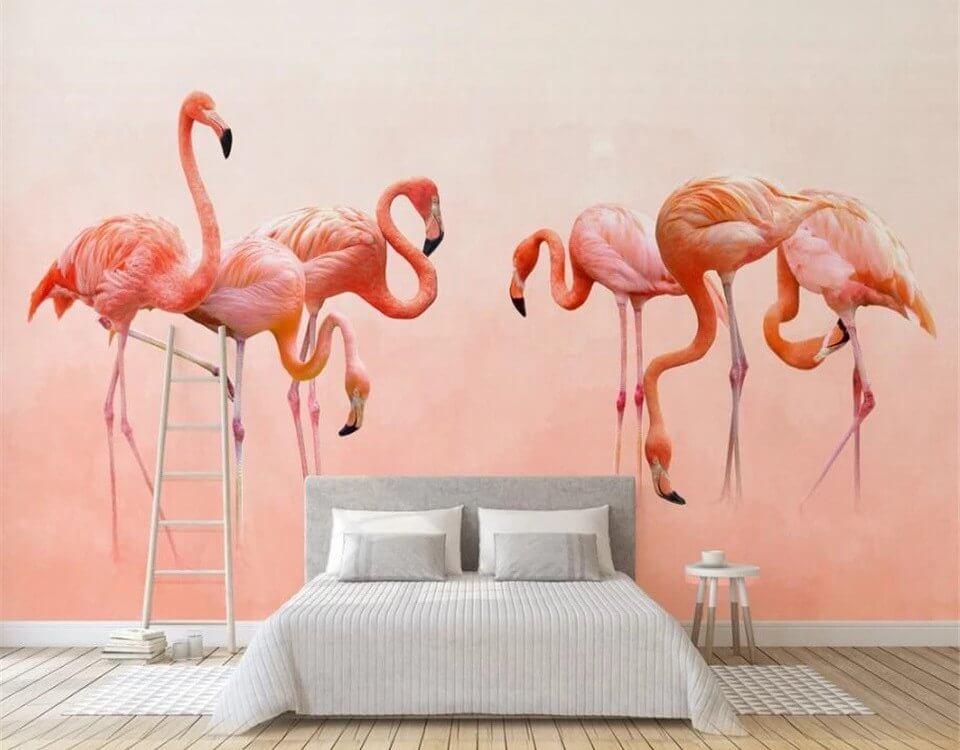 обои с фламинго для стен
