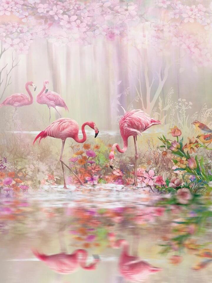 обои для девочек фламинго на рулонных и бесшовных фактурах с интерьерной печатью