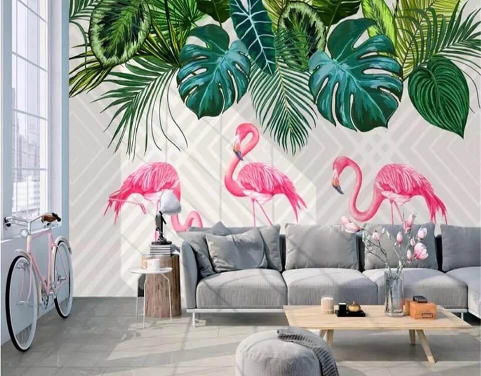 Фламинго пальмовые листья обои