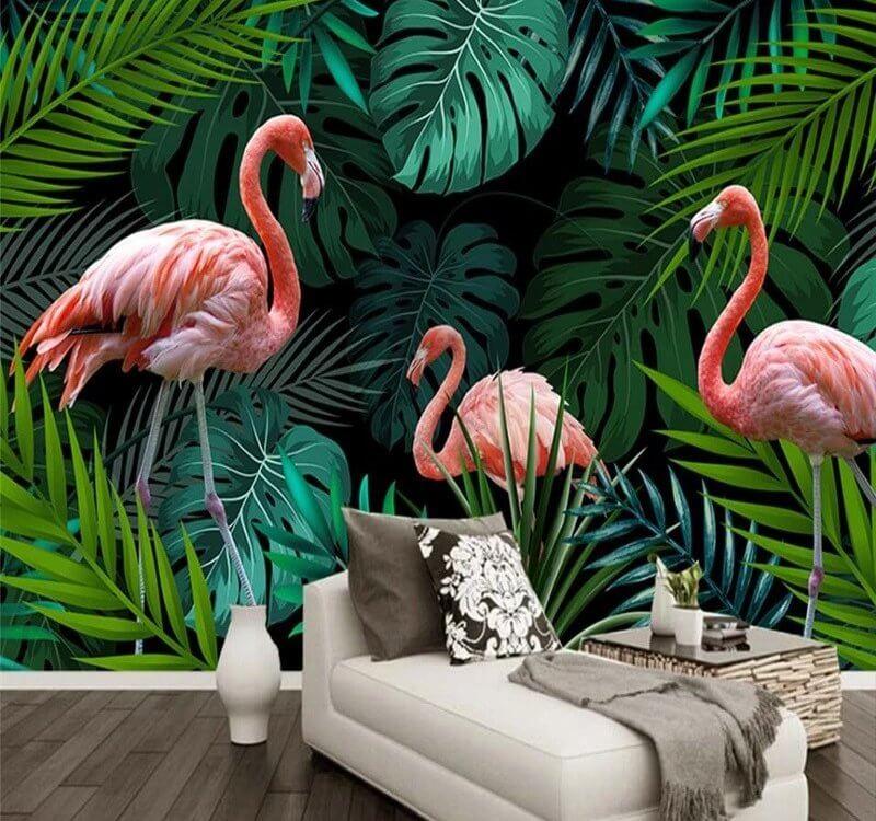 Фотообои с фламинго и большими пальмовыми листьями